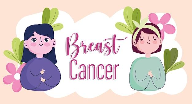 Câncer de mama cartoon personagens mulheres flores cartão ilustração