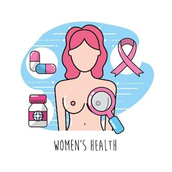 Câncer de mama com tratamento médico para cuidar do corpo