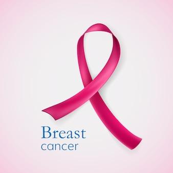 Câncer de mama. fita rosa de corações. ilustração