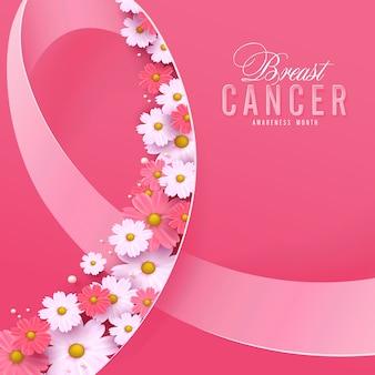 Câncer de mama, mês de conscientização de outubro, fita rosa e fundo de flores