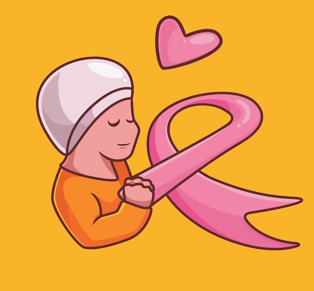 Câncer de mama mulher esperança símbolo cartoon mulher conceito de câncer ilustração isolada estilo simples