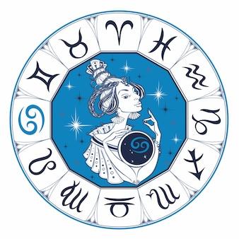 Câncer signo astrológico como uma menina bonita. zodíaco