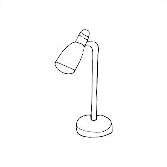 Candeeiro de mesa desenhado de mão única. ilustração em vetor doodle. escritório em casa. elemento bonito para cartões, cartazes, adesivos e design sazonal. isolado em fundo branco