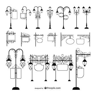 Candeeiros de iluminação pública e sinalização