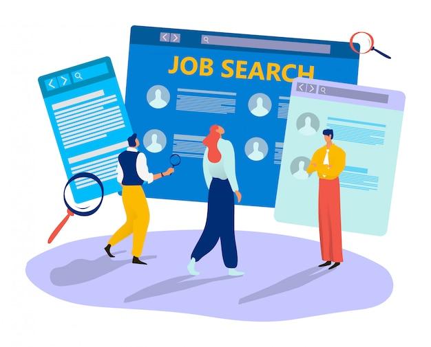 Candidato a emprego freelance fêmea masculino do caráter minúsculo em linha da procura de emprego na ilustração branca. recursos humanos modernos na internet.