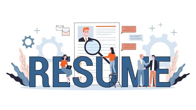 Candidato a emprego. ideia de emprego e entrevista de emprego. pesquisa de gerente de recrutamento. banner da web. ilustração em estilo cartoon