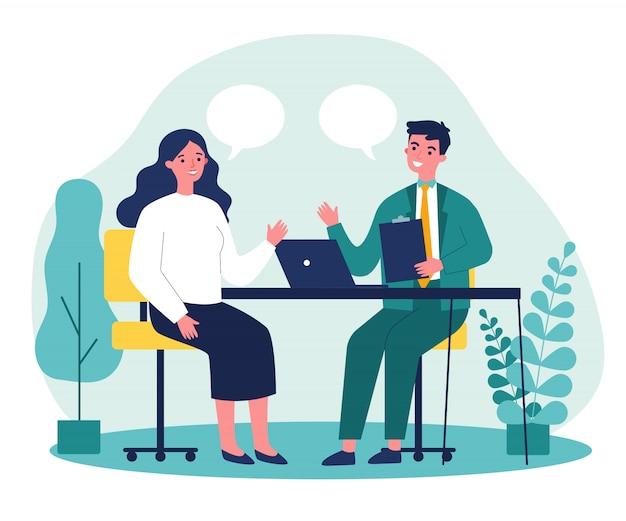 Candidato e gerente de rh com entrevista de emprego
