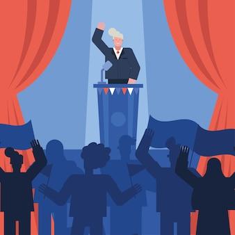 Candidato masculino fazendo discurso no dia da eleição ilustração vetorial