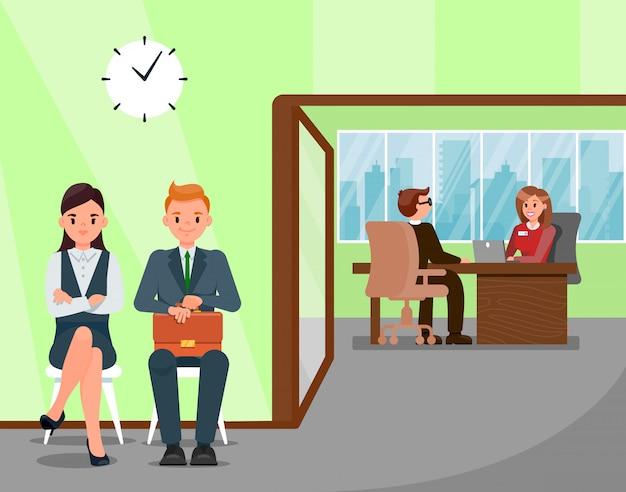 Candidatos à espera de ilustração de entrevista de emprego