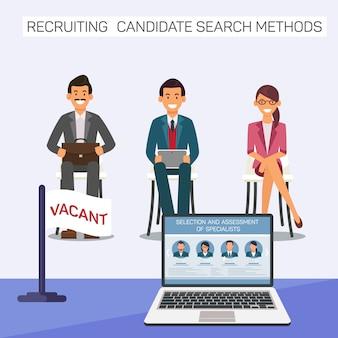 Candidatos para o trabalho vago. recrutando candidato.