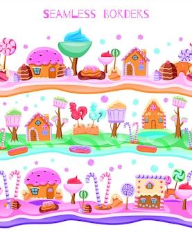 Candyland de conto de fadas com pirulitos de árvores e cupcakes casas