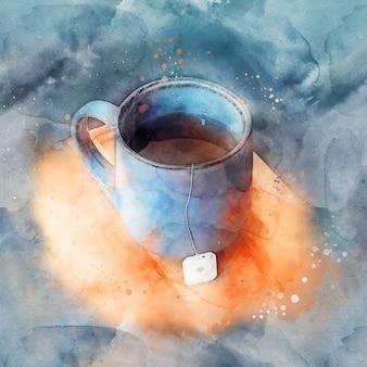 Caneca azul de chá quente em pé sobre uma placa de madeira, aquarela.