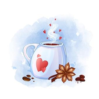 Caneca branca com corações vermelhos. bebida quente, cardamomo, baunilha, gotas de chocolate quente, grãos de café.