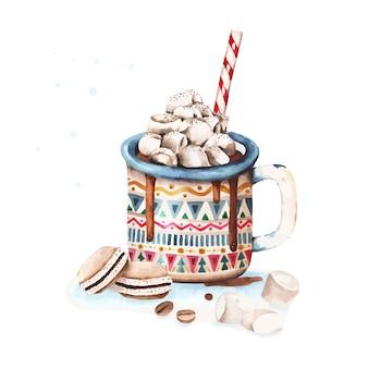 Caneca de cacau de inverno. ilustração em vetor em aquarela de natal