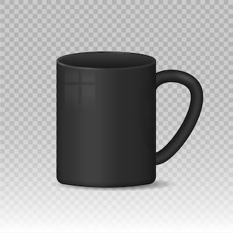 Caneca de café branca e preta em branco realista xícaras recipiente de bebida quente xícara de utensílios clássicos de porcelana