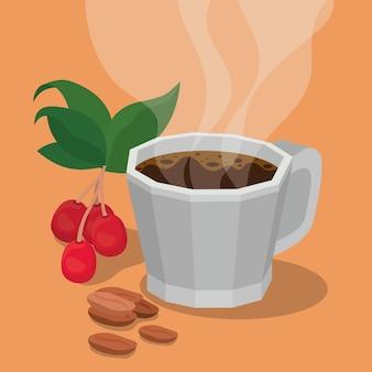 Caneca de café com folhas de bagas e design de feijão do tema do café da manhã e bebida da cafeína da bebida.