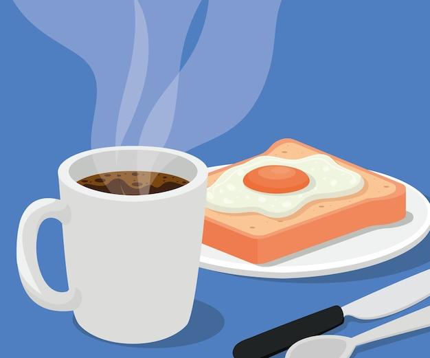 Caneca de café com ovo no pão e design de talheres de bebida cafeína tema de café da manhã e bebidas.