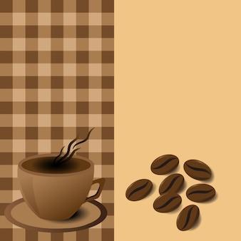 Caneca de café de menu com grãos de café em vetor eps