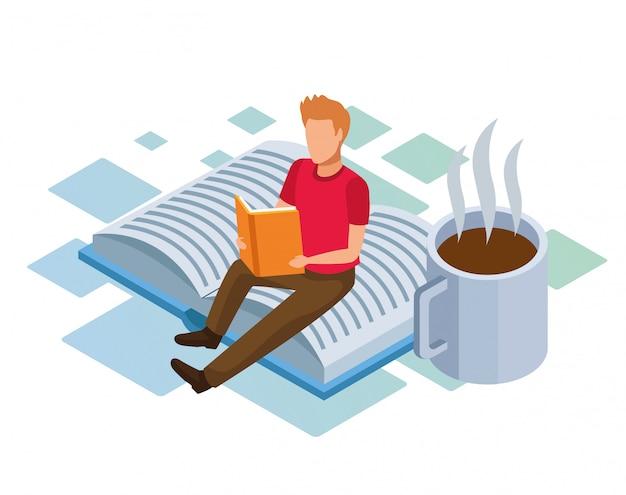 Caneca de café e homem lendo um livro sentado no livro grande sobre fundo branco, colorido isométrico