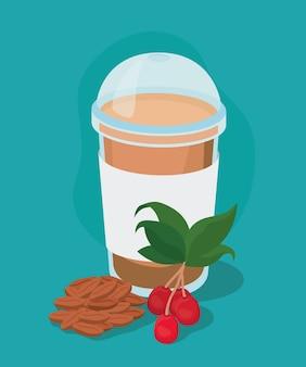 Caneca de café gelado com folhas de frutas e design de feijão do tema do café da manhã e bebida da cafeína da bebida.