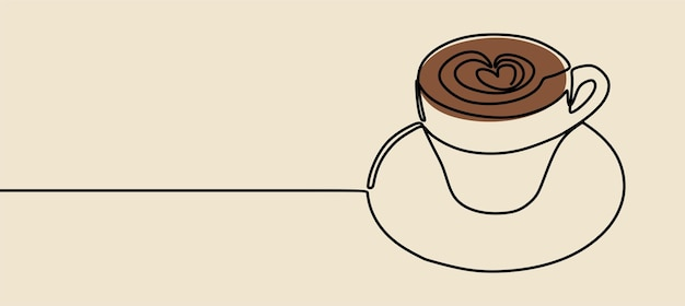 Caneca de café minimalismo oneline art linha contínua arte premium vetor