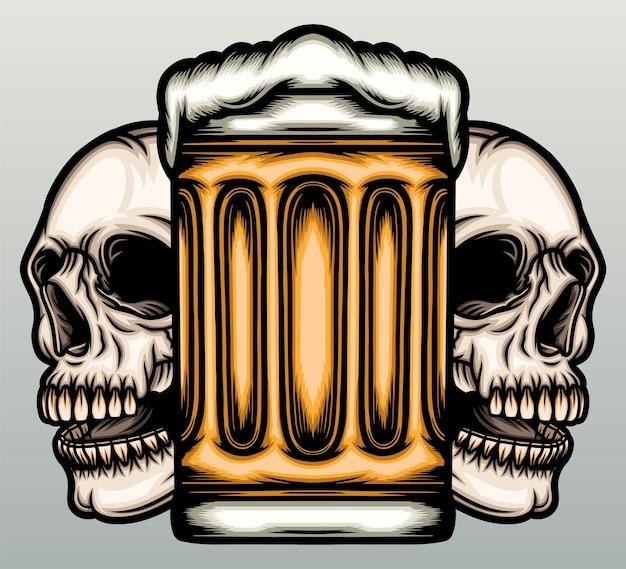 Caneca de cerveja com caveira desenhada