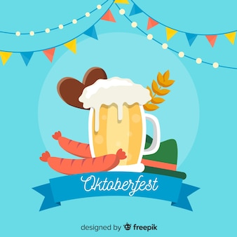 Caneca de cerveja de design plano para fundo oktoberfest