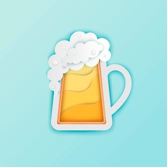 Caneca de cerveja de papel com espuma branca e bolhas vector papel cortado banner de cartaz de cerveja artesanal oktoberfest
