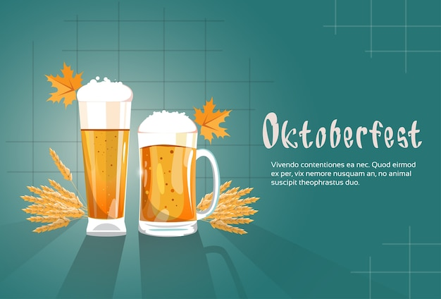 Caneca de cerveja de vidro oktoberfest festival banner