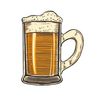 Caneca de cerveja em fundo branco. elemento para cartaz, cartão, emblema, logotipo. ilustração