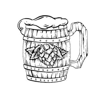 Caneca de cerveja em madeira.