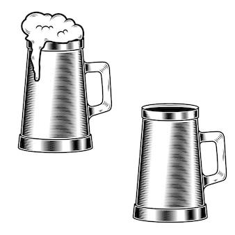 Caneca de cerveja no fundo branco. elemento para cartaz, cartão, emblema, logotipo. ilustração