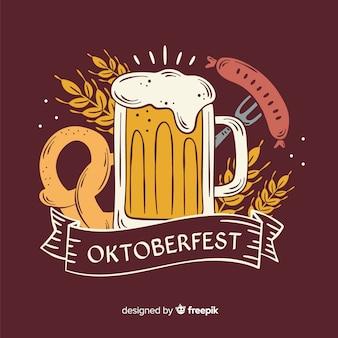 Caneca de cerveja oktoberfest desenhada mão
