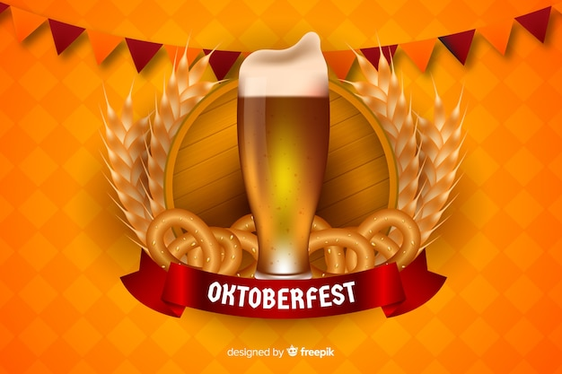Caneca de cerveja oktoberfest realista e bagels