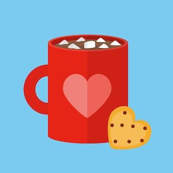 Caneca de chocolate quente e pedaço de biscoito em forma de coração.