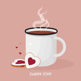 Caneca de chocolate quente ou café com biscoitos em forma de coração com geléia.