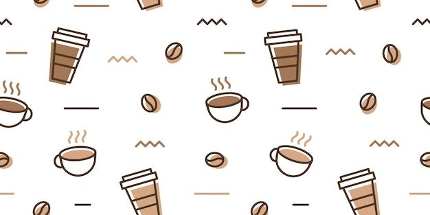 Caneca de feijão de café copo memphis padrão sem costura