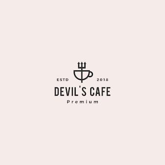 Caneca de forquilha caneca diabo café logo vector