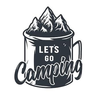 Caneca de lata de silhueta monocromática para acampar e viajar no deserto