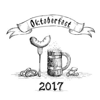 Caneca de madeira de cerveja com esboço de salsicha oktoberfest festival