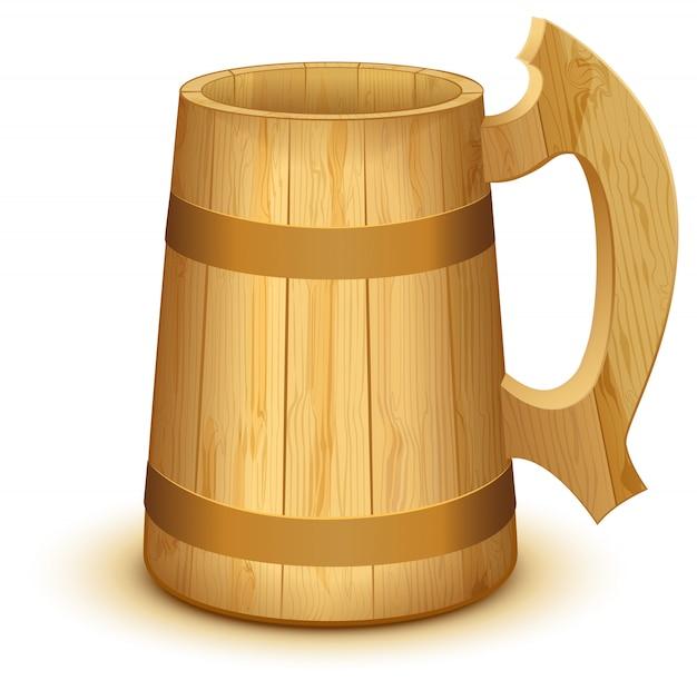 Caneca de madeira vazia para cerveja