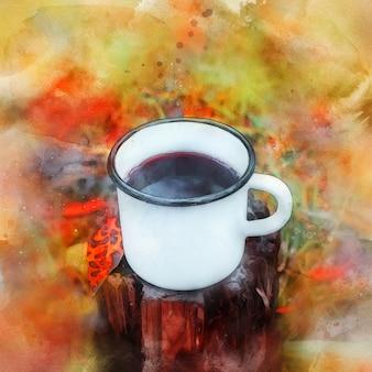 Caneca de metal por um toco na floresta de outono, ilustração em aquarela