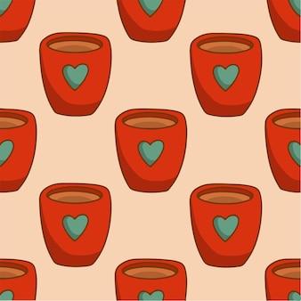 Caneca de natal com fundo de padrão de leite com chocolate ilustração em vetor de natal