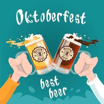 Caneca de vidro de cerveja de preensão de mão oktoberfest festival banner