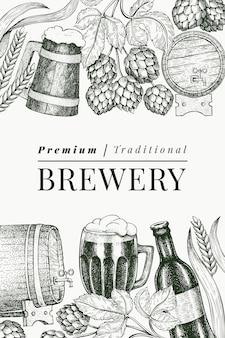 Caneca de vidro de cerveja e hop. mão-extraídas ilustração de bebidas de pub. estilo gravado. ilustração de cervejaria retrô.