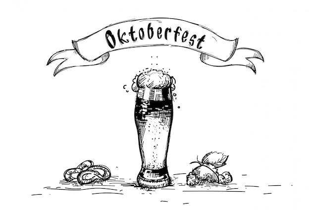 Caneca de vidro de cerveja oktoberfest festival sketch
