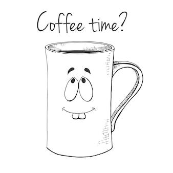 Caneca desenhada de mão. caneca com cara. hora do café do texto. ilustração vetorial no estilo de desenho.