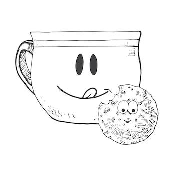 Caneca desenhada de mão e biscoitos. caneca com cara. ilustração vetorial no estilo de desenho.