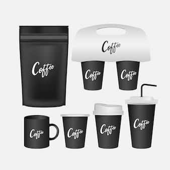 Caneca em branco, conjunto realista de xícara de café isolado.