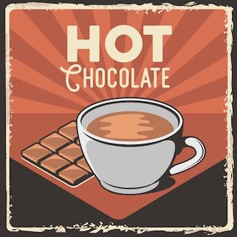 Caneca retro do chocolate quente poster retro clássico rústico do signage do vintage